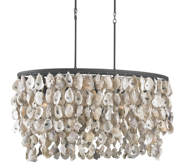 The Currey & Company Stillwater Chandelier is adorned with one of our most popular materials – oyster shells.