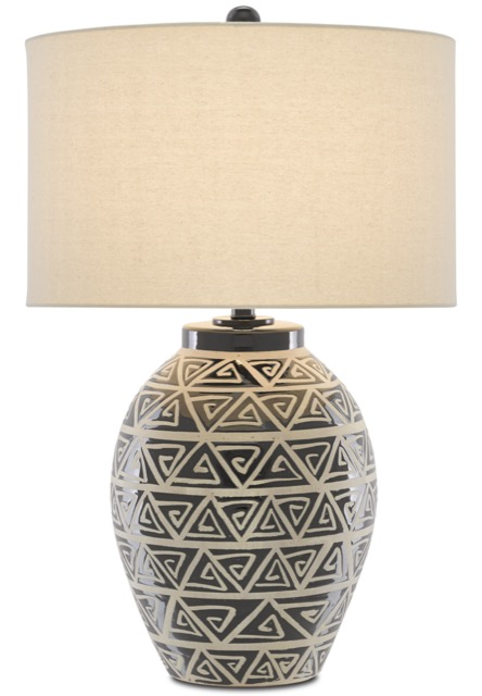 The Currey & Company Himba Table Lamp has an ethnic motif, so it fits in the Mesa trend