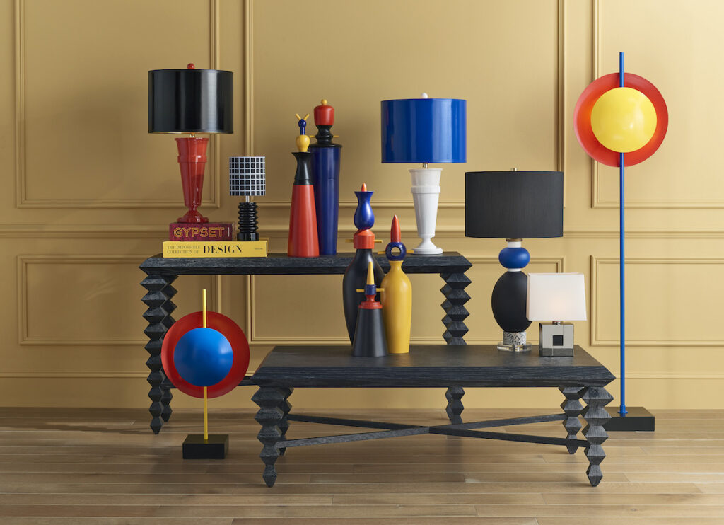 The Mister M products in this vignette are colorful decorative accessories.