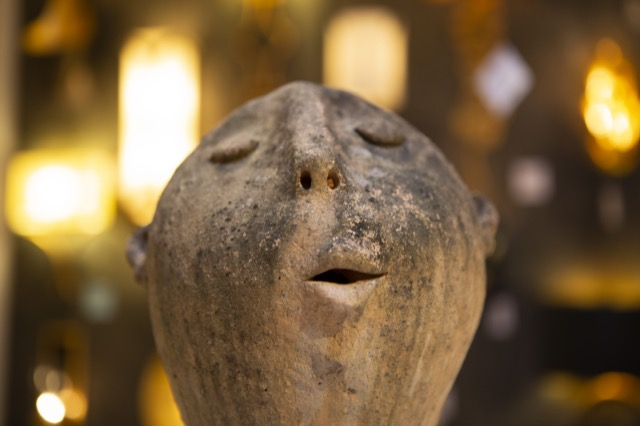 A soulful singing face created by Arjan Deng available in the Currey & Company showrooms.