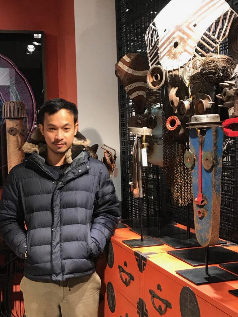 Prakit Seehawong with his metal creations.
