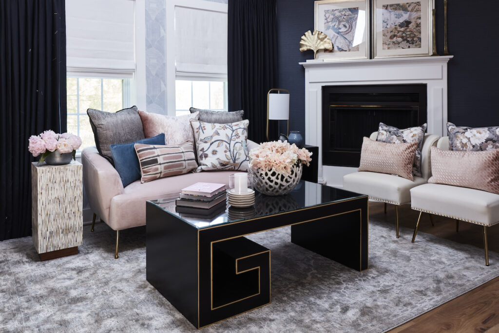 Nikki Klug's Cleopatra Suite that includes our Artemis Cocktail Table and the Aquila Accent Table.