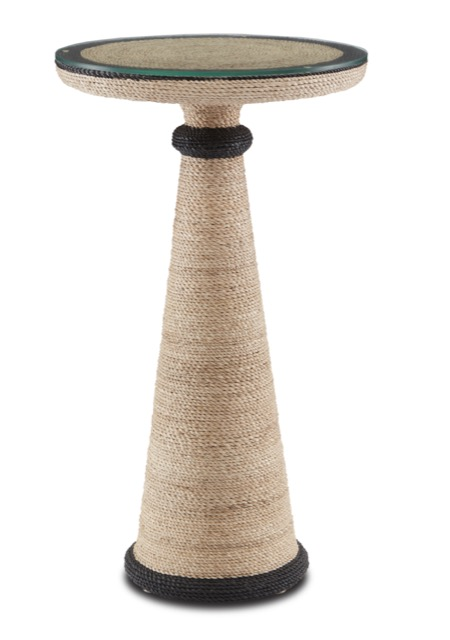 A bestseller and new during High Point Market was the Nicosia Accent Table by Currey & Company