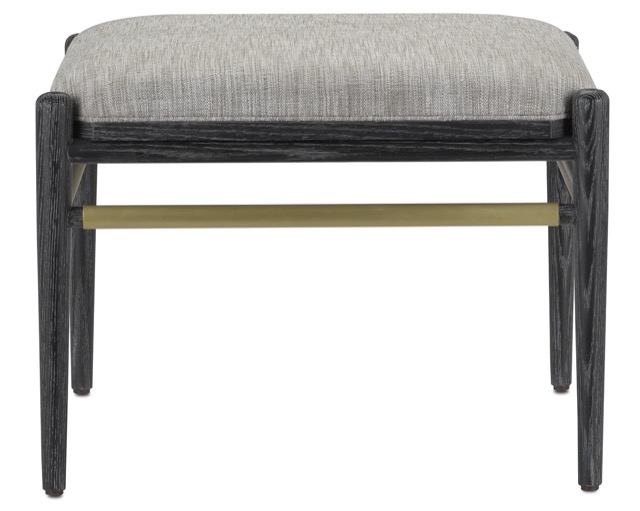 A bestseller during High Point Market was the Visby Smoke Black Ottoman by Currey & Company