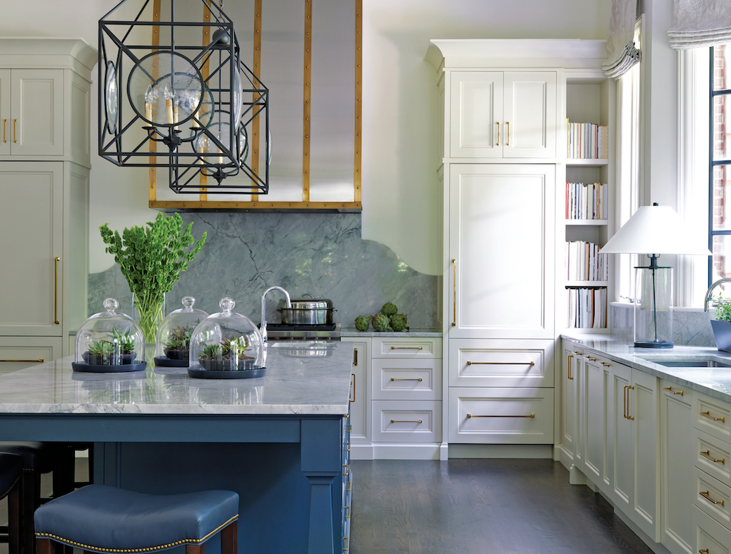 Our Beckmore Lanterns hang in this kitchen designed by Melanie Turner, which is in her new book Inviting Interiors. Image credit: Mali Azima.
