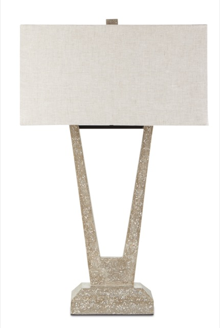 The Celestine Table Lamp, made of concrete, is one of Currey & Company's summery table lamps.