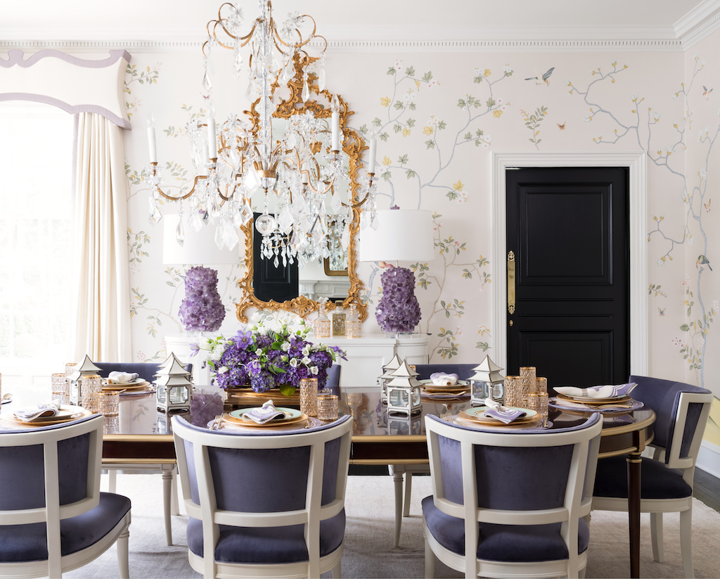 """The lavender hues in this dining room, featured in the chapter titled """"Classic Chic"""" truly sing. Image credit: Mali Azima."""