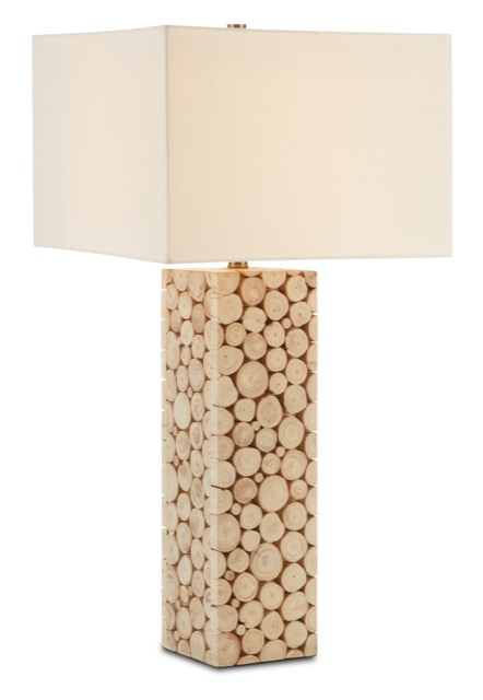 The Currey & Company Mimosa Tall Table Lamp is made of pieces of wood attached to a frame.