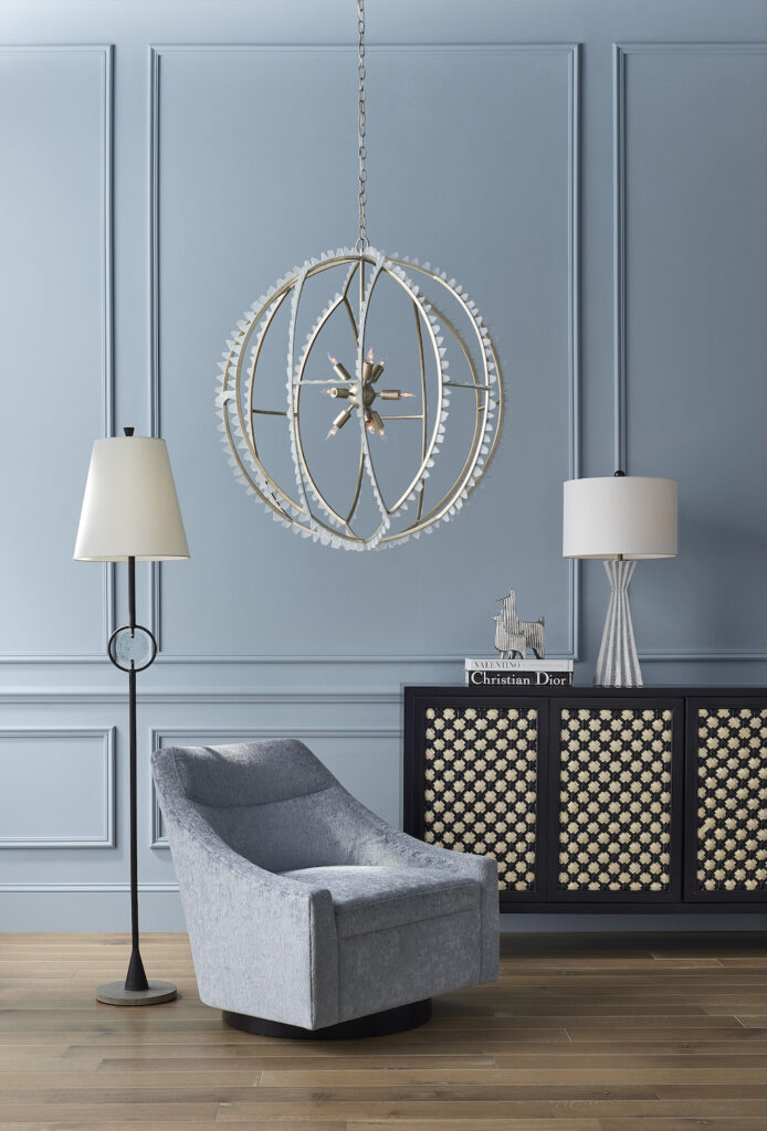 The Fabienne Table Lamp shows off its textural appeal in this vignette.
