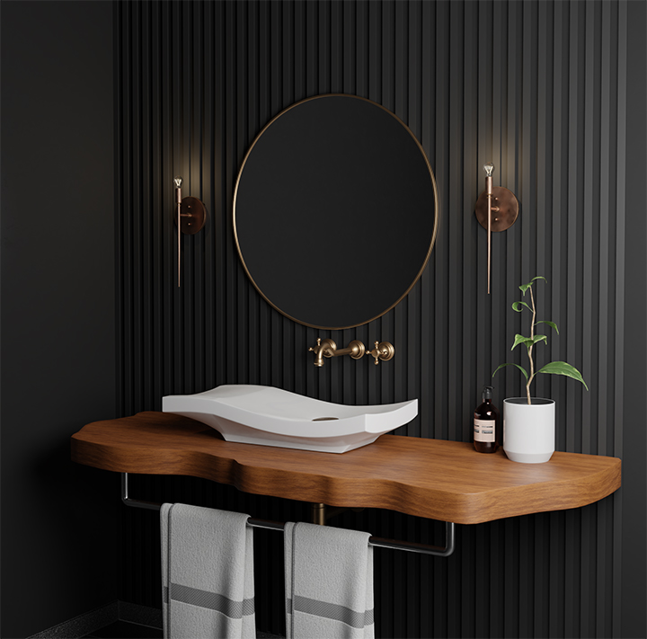 The Bel Canto Brass Wall Sconce truly sings in this dark and dreamy bathroom.