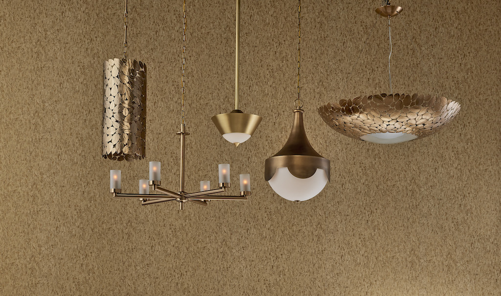 The Philipa Chandelier and Pepys Brass Pendant (shown here second and third from left) are among our new gold offerings.