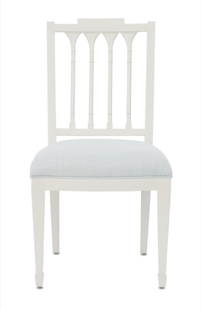 The Chelsea Mist Chair by Currey & Company pairs with the Chelsea Desk.