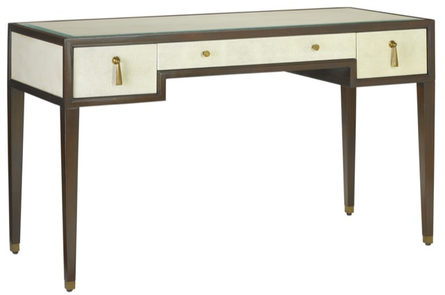 The Currey & Company Evie Shagreen Desk is an excellent choice for furnishing the home office.
