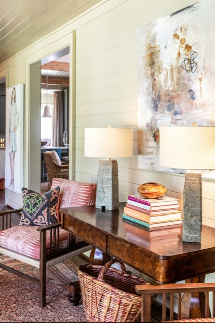 A pair of Branwen Table Lamps shine in the foyer of Briarfield.