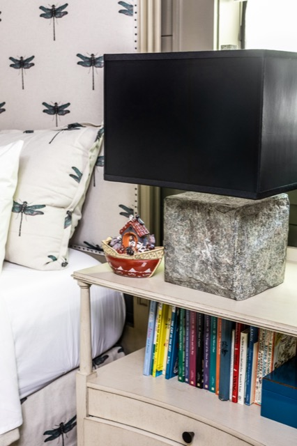 The Boanna Table Lamp grounds a whimsical bedroom of Brierfield Farm.