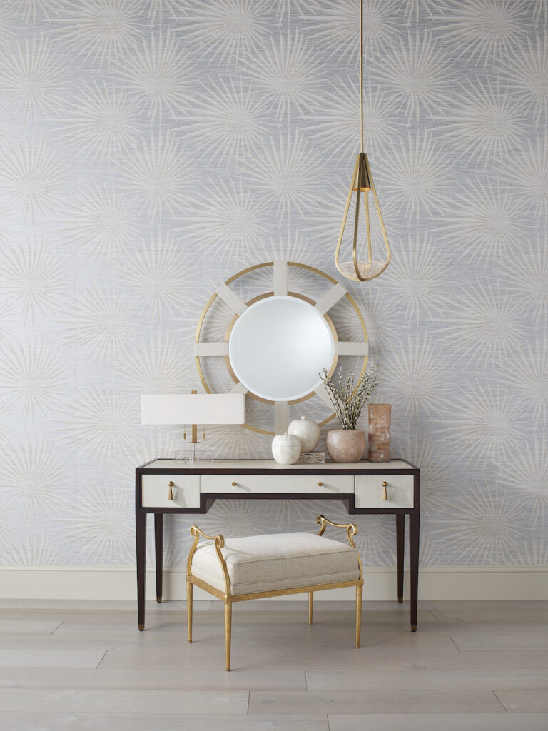 This vignette features the Evie Shagreen Desk, which is pretty and perfect for the home office.
