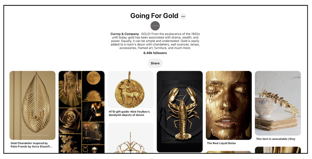 A collage of Currey & Company's Pinterest board that celebrates going for the gold.