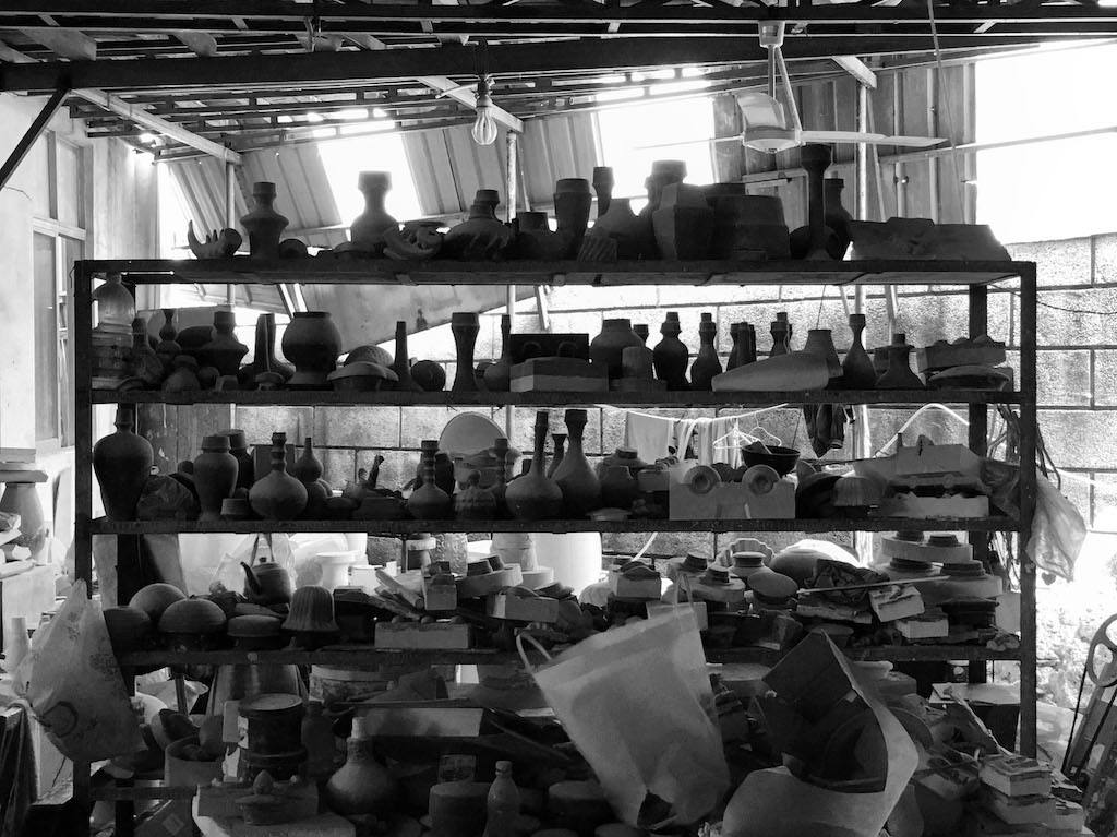A photo of raw pottery in one of the factories visited by the design team.