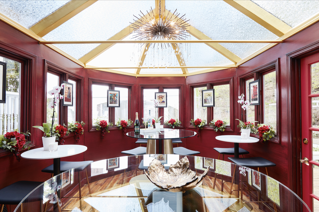 The bar designed by David Santiago at The Cornell Inn with our Fen chandelier as a centerpiece.
