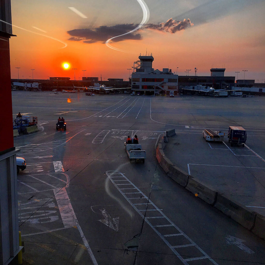Brownlee snapped this photo overlooking the airport prior to their departure before supply chain challenges were caused by the pandemic