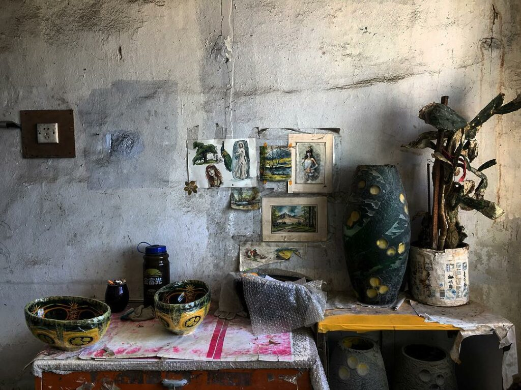 An artist's studio photographed by Brownlee during a trip to China in May 2018.