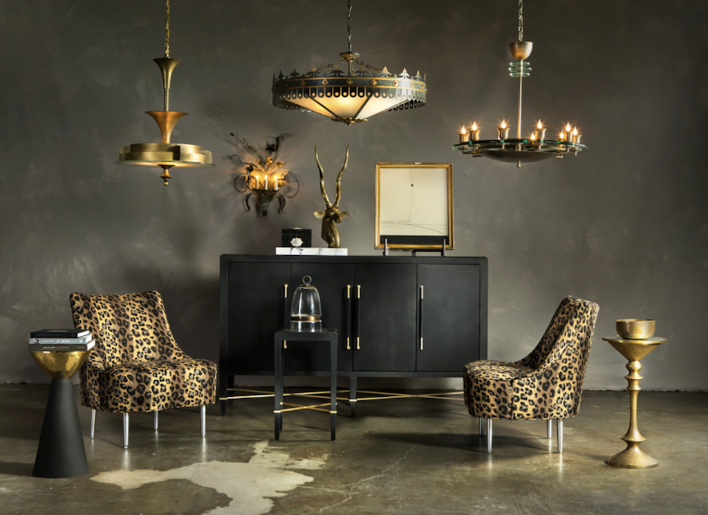 Lighting in our Bunny Williams Collection illuminate this moody vignette, our collaborations with the lauded designer satisfying.
