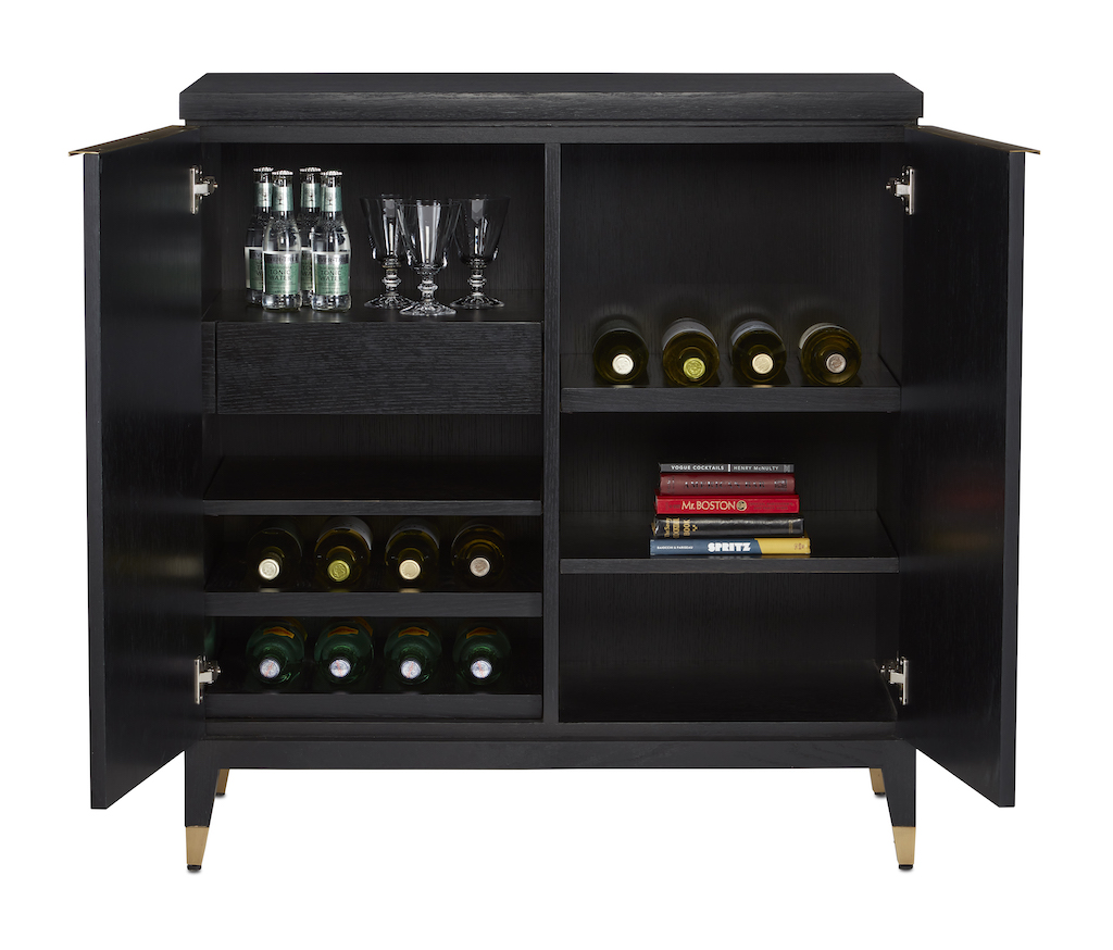 The interior of our Sergio Bar Cabinet is filled with clever storage solutions for happy hour.