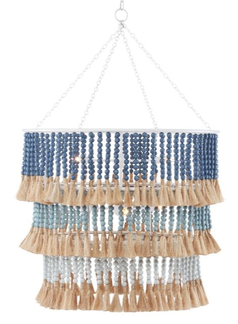 Jamie Beckwith's St. Barts Blue Chandelier, one of Currey & Company's designer collaborations.