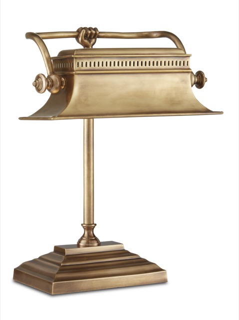 One of Currey & Company's most exciting collaborations has been with Bunny Williams, whose Malvasia Brass Desk Lamp is debuting.