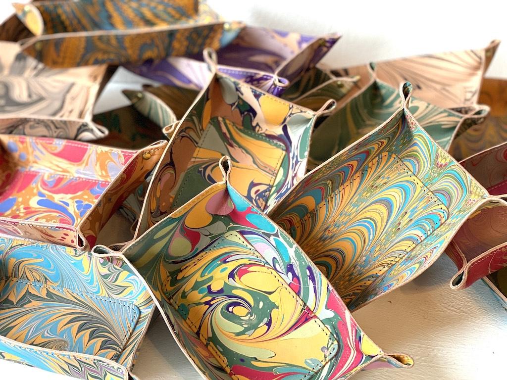 Marbleized trays by Susan Schneider of Shandell's.